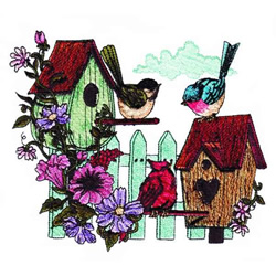Picket Fence Birdhouses embroidery design