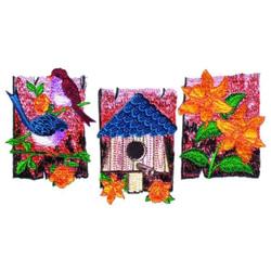 Flowers & Birdhouses embroidery design