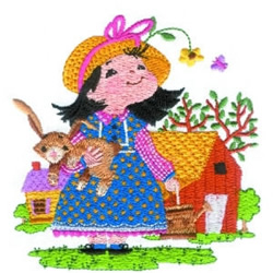 Girl With Bunny embroidery design