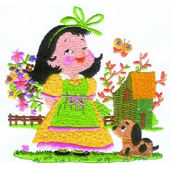 Girl With Puppy embroidery design