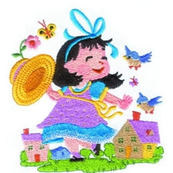 Summer Girl & Birds embroidery design