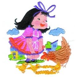 Farm Girl & Chicken embroidery design