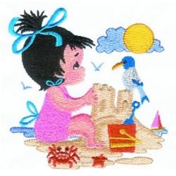 Girl Building Sandcastle embroidery design