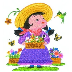 Girl With Daisies embroidery design