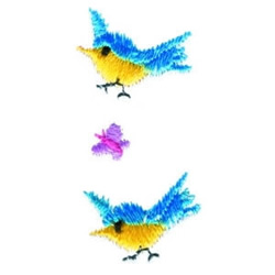 Blue Birds & Butterfly embroidery design