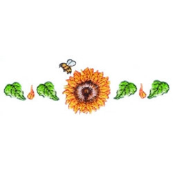 Sunflower & Bee Border embroidery design