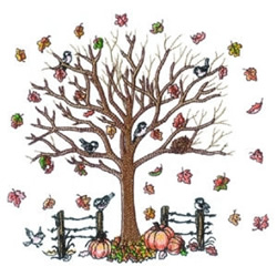 Autumn Tree Scene embroidery design