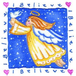 I Believe Angel embroidery design