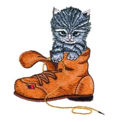 Kitten In Boot embroidery design