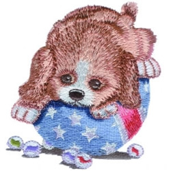 Puppy Playing Ball embroidery design