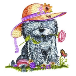 Puppy Wearing Hat embroidery design