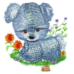 Puppy & Flowers embroidery design