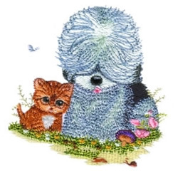 Kitten & Puppy Friends embroidery design