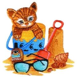 Kitten Beach Scene embroidery design