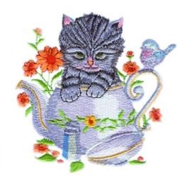 Kitten In Teapot embroidery design