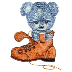 Puppy In Boot embroidery design