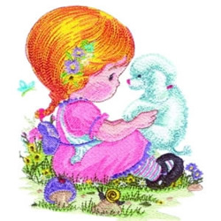 Girl & Poodle embroidery design