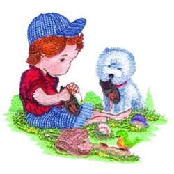 Boy & Poodle embroidery design