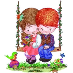 Children on Swing embroidery design