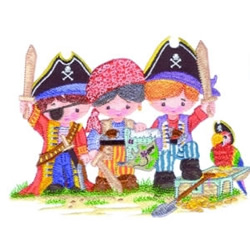 Pirate Kids embroidery design