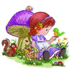 Mushroom Girl embroidery design