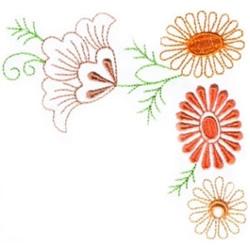 Fall Flower Corner embroidery design