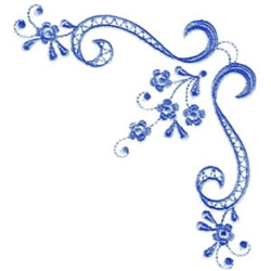 Blue Floral Corner embroidery design