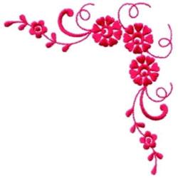 Red Floral Corner embroidery design