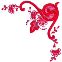 Red Floral Swirl embroidery design