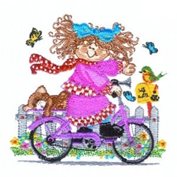Bike Riding Girl embroidery design