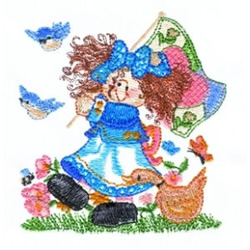 Walking Girl embroidery design