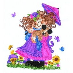 Parasol & Butterflies embroidery design
