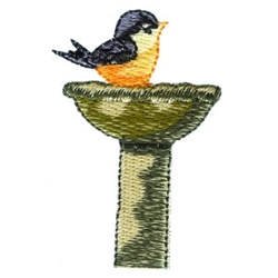 Bathing Robin embroidery design