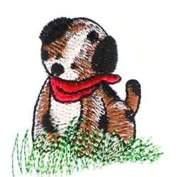Puppy in the Grass embroidery design