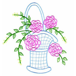 Basket of Roses embroidery design