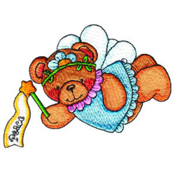 Fairy Bear Peace embroidery design
