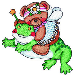 Fairy Bear with Frog embroidery design