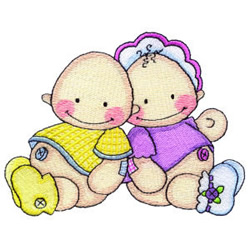 Two Babies embroidery design