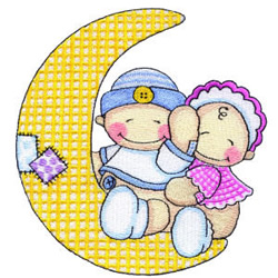 Babies on the Moon embroidery design