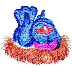 Nesting Bluebird embroidery design