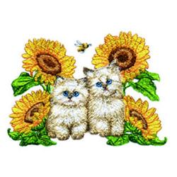 Sunflower Kitties embroidery design