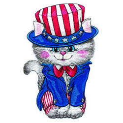 Uncle Sam Kitty embroidery design
