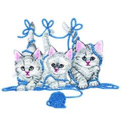 Kitties with Yarn embroidery design