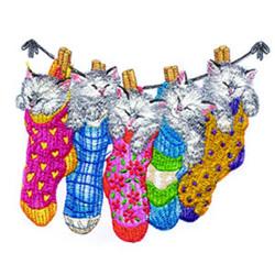 Clothesline Kitties embroidery design