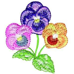 Pansies embroidery design