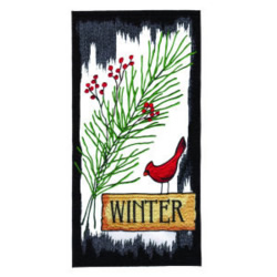 Cardinal Winter embroidery design