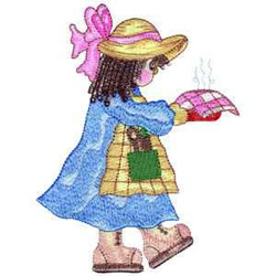 Girl With Pie embroidery design