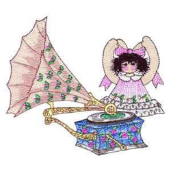Gramophone embroidery design