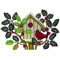 Cardinal Birdhouse embroidery design