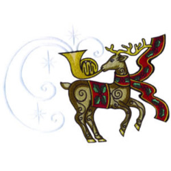 Trumpeting Reindeer embroidery design